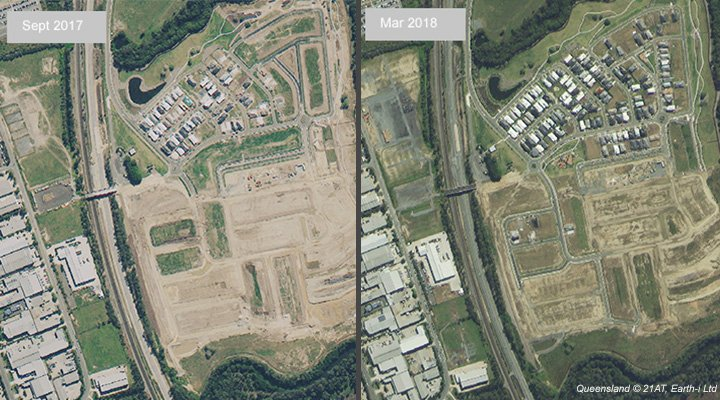 Satellite Image Showing Construction of Houses